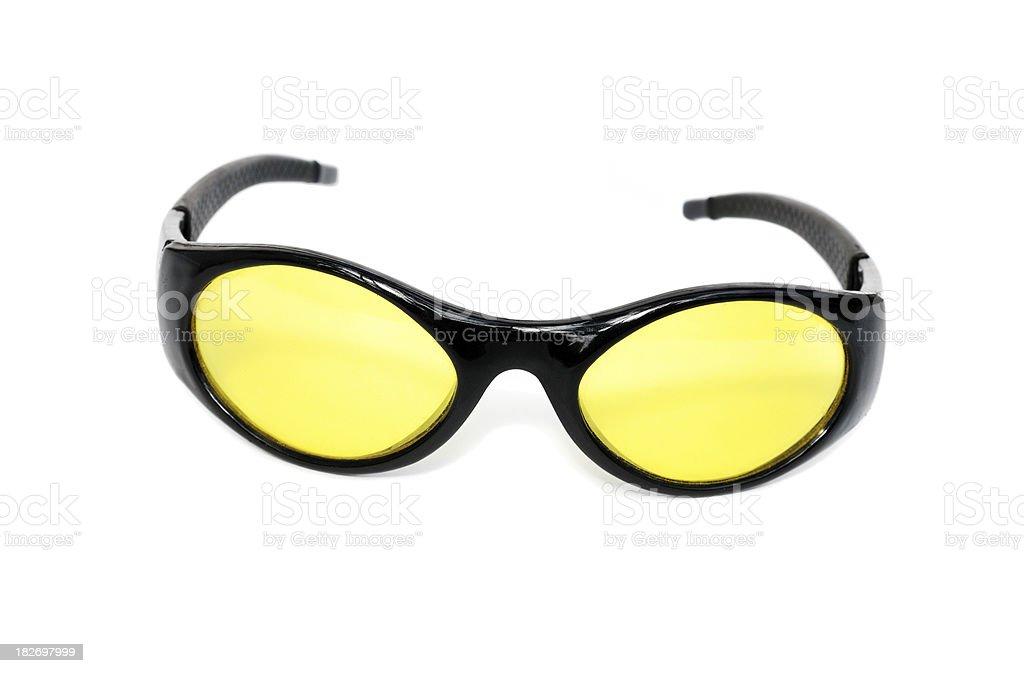 Yellow lens sunglasses on white royalty-free stock photo