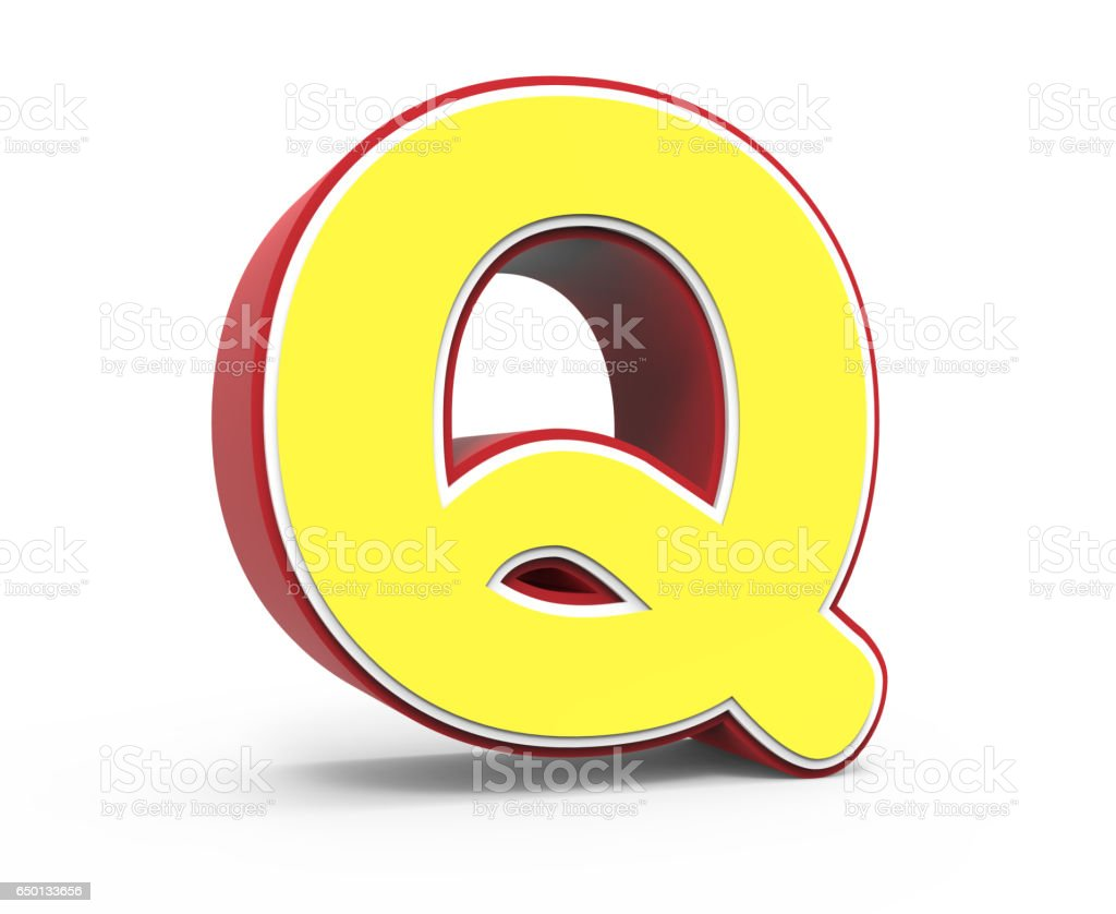 yellow letter Q stock photo