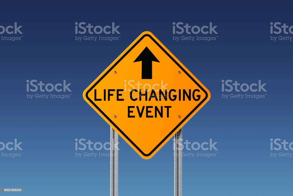 Yellow life changing event ahead traffic sign on blue sky. Change...