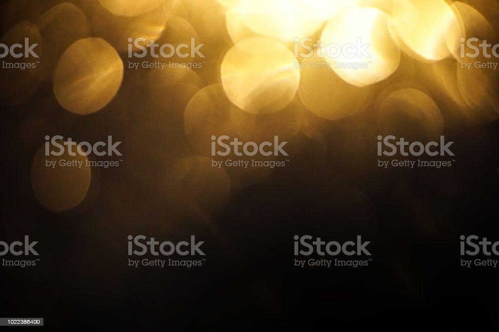Yellow Light Bokeh Dark Background Stock Photo - Download Image Now