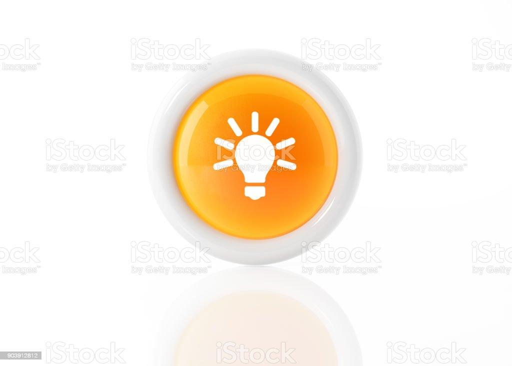 Yellow Light Bulb Icon With White Frame On White Background stock photo