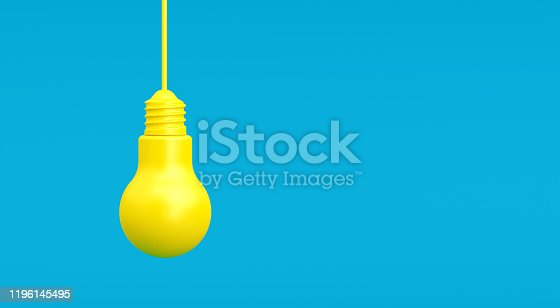 Yellow light bulbs on blue background. Horizontal composition with copy space. Creativity and innovation concept.