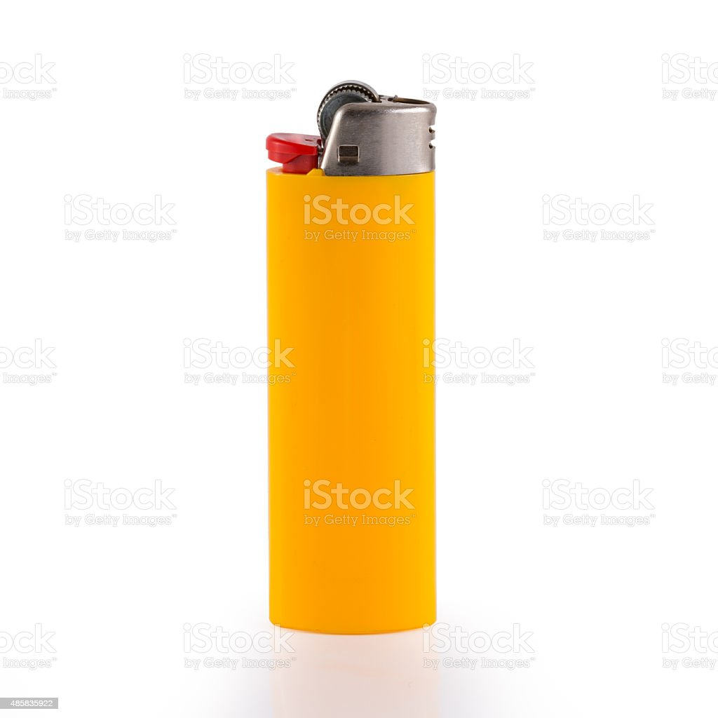 Yellow lighter isolated on white background stock photo