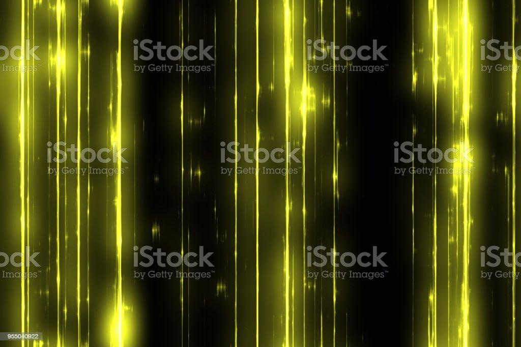 Yellow Lightstreak on black background stock photo