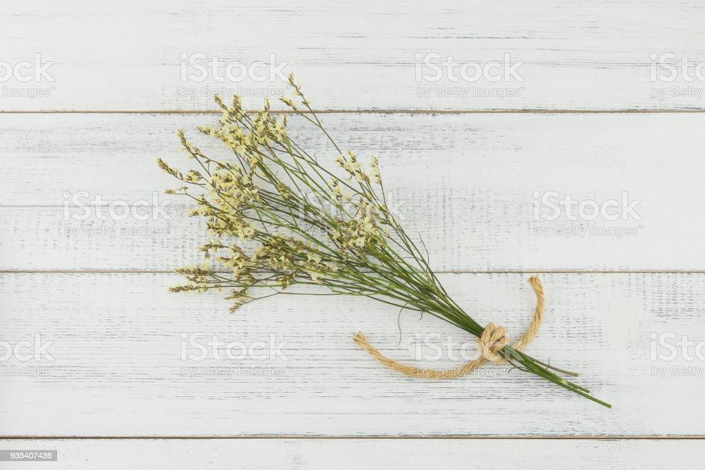 Yellow limonium caspia flowers bouquet stock photo