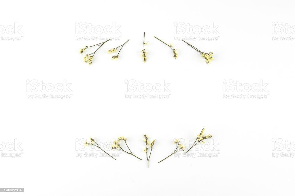 Yellow limonium caspia flowers wreath stock photo