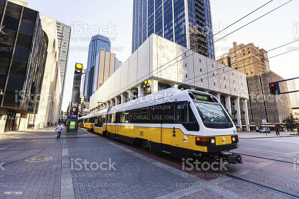 Yellow line in Dallas royalty-free stock photo