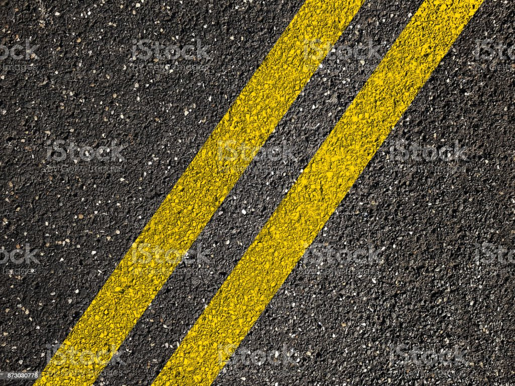Yellow Line On Asphalt Road Background Stock Photo