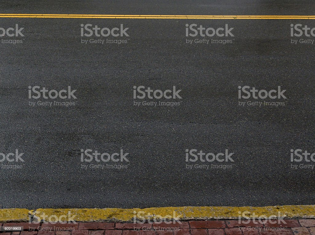 Yellow Lined Pavement royalty-free stock photo