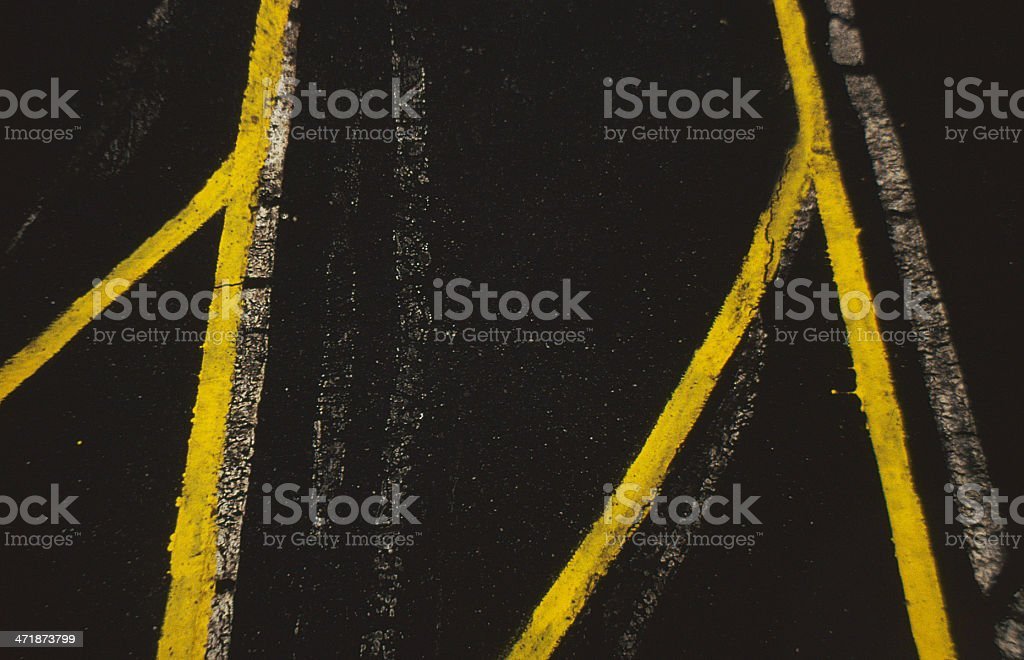 Yellow Lines On The Street royalty-free stock photo