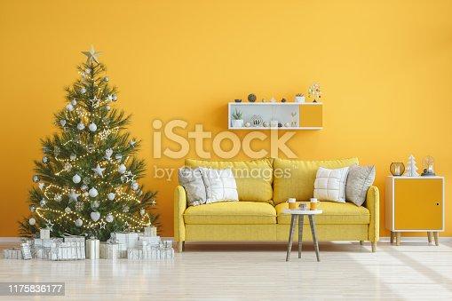 Yellow Living Room with Christmas Tree