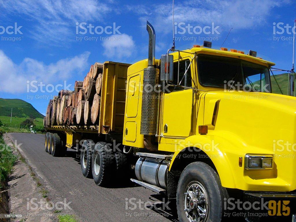 Yellow log truck royalty-free stock photo