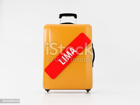 istock Yellow Luggage  Labeled with Red Lima Sticker: Travel Concept 840085528