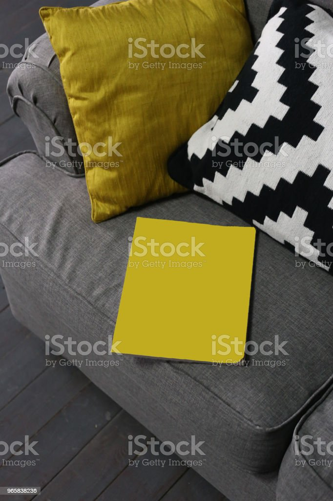 yellow magazine poster couch pillows interior - Royalty-free Engraved Image Stock Photo