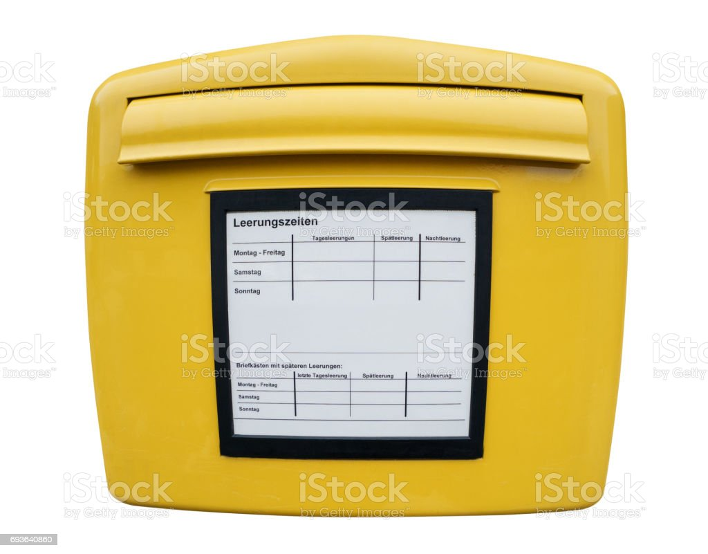 Yellow mailbox isolated on white background with German captions stock photo