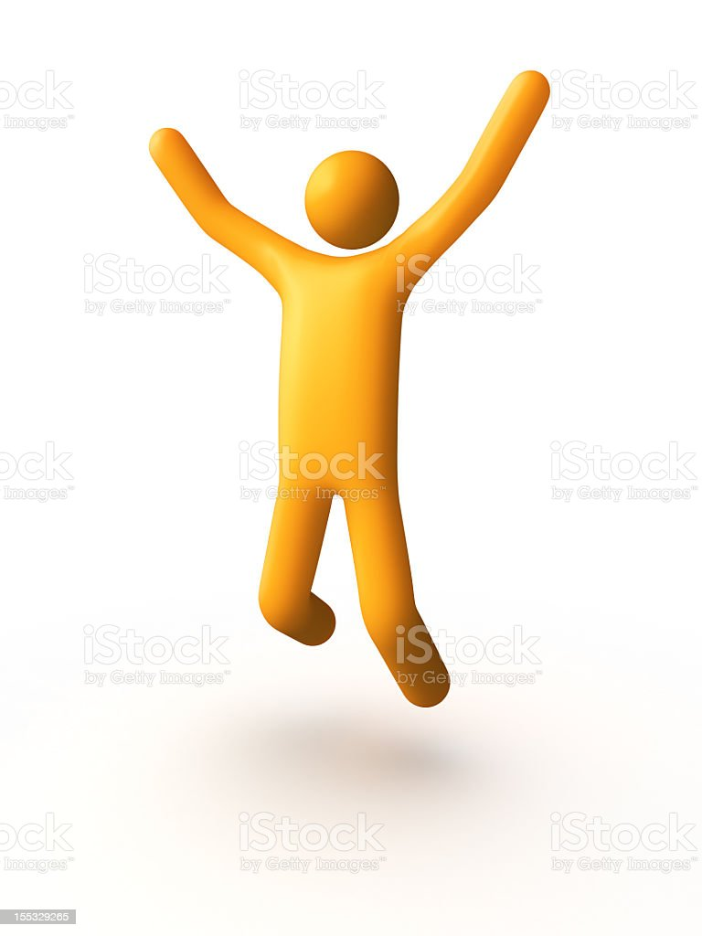 3D yellow man cheering on white background royalty-free stock photo