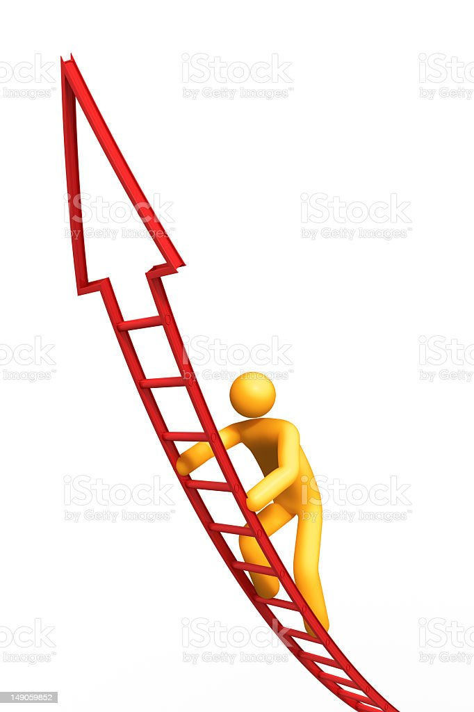 A yellow man climbing the ladder of success royalty-free stock photo
