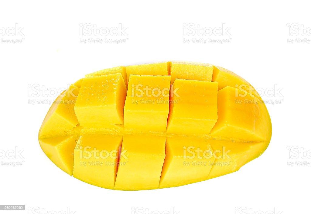 Yellow mango slices  on white background. royalty-free stock photo