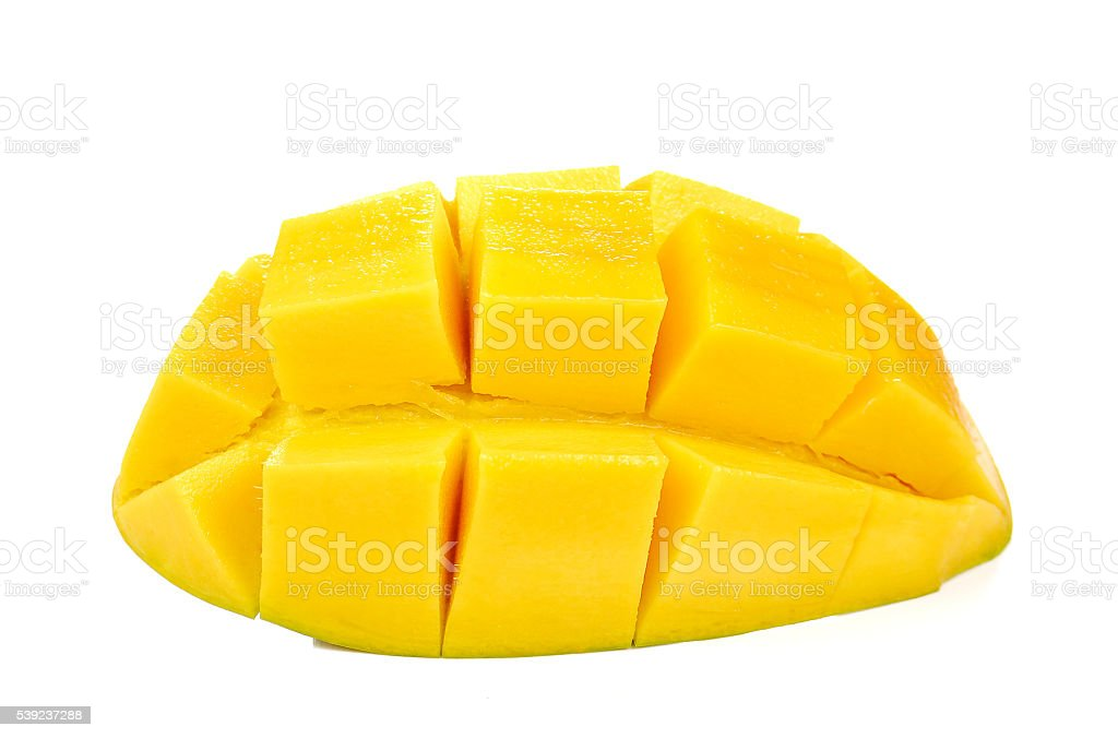Yellow mango slices  on white background. royalty-free stock photo