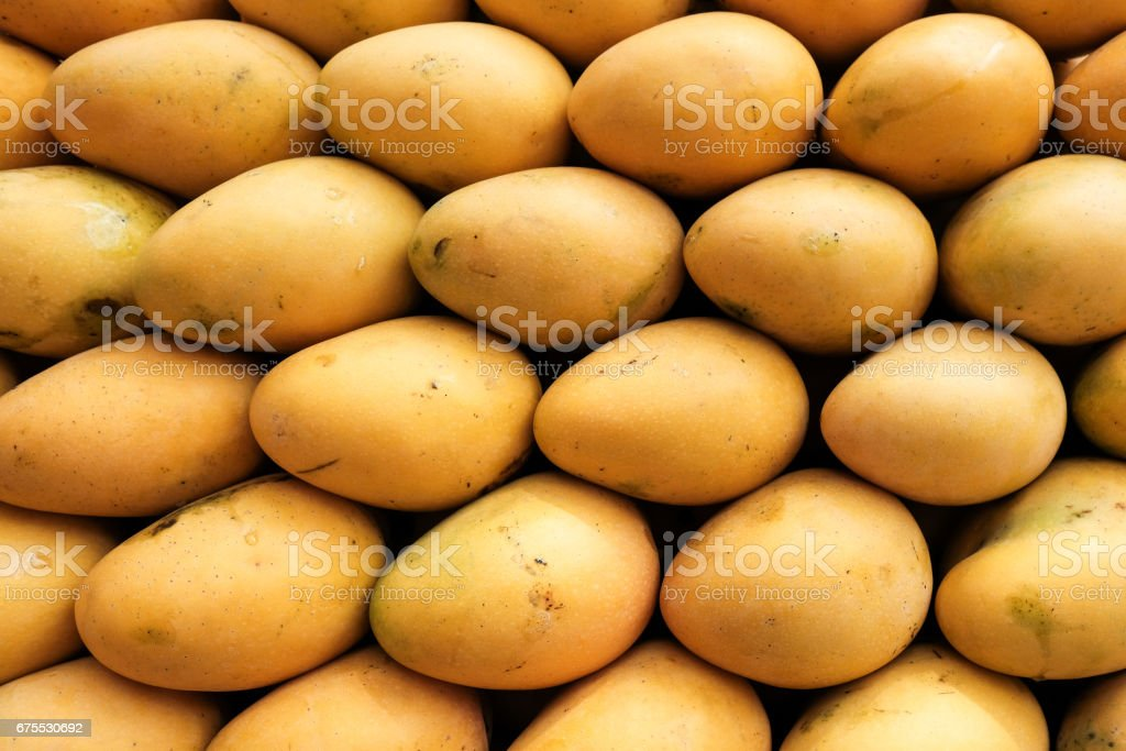 Yellow mangoes on market. Fresh fruit closeup. photo libre de droits
