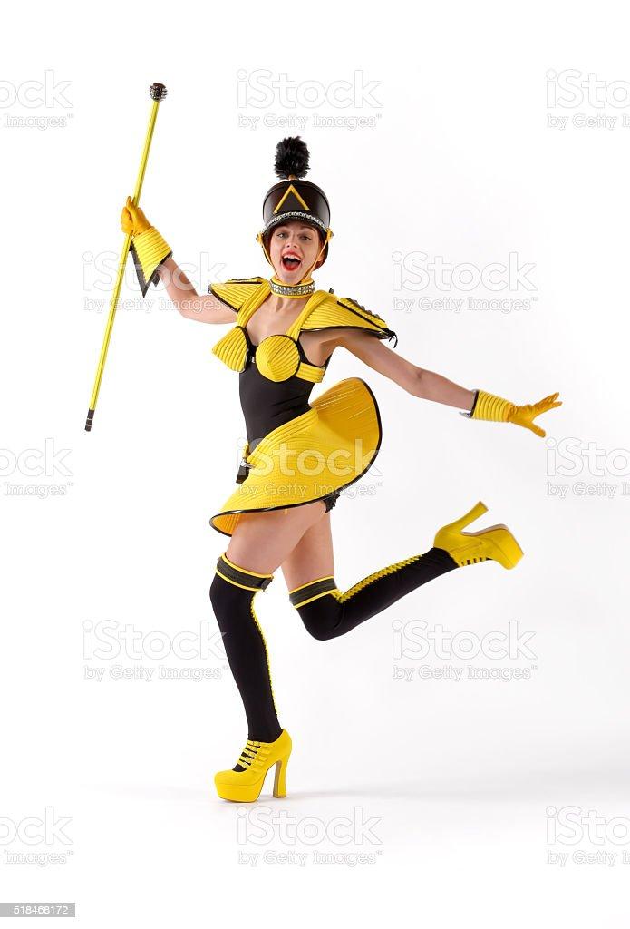 Amarillo marchando Chica ocho - foto de stock