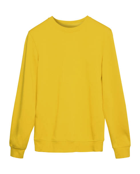 yellow masking sport sweatshirt with copy space isolated on white - sweatshirt stock photos and pictures