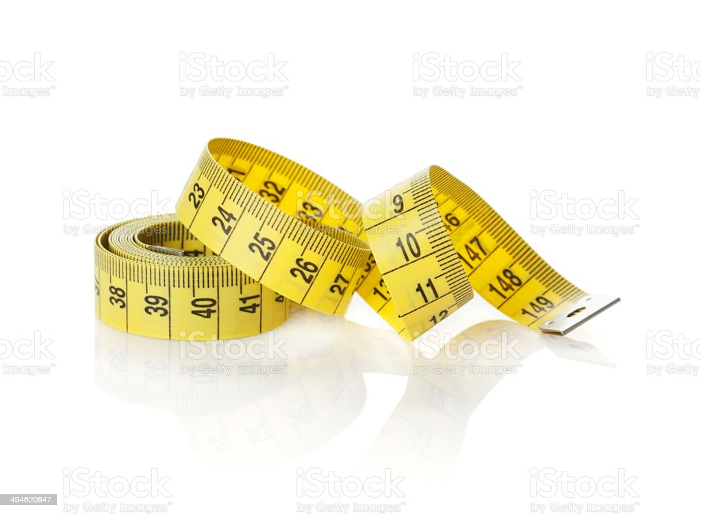 Yellow measure tape stock photo