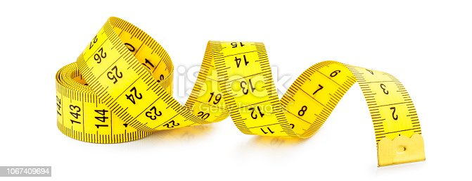 Yellow measuring tape isolated on white background as package design element