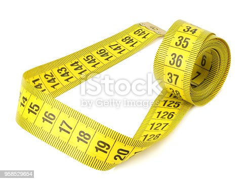1184112328 istock photo Yellow measuring tape isolated on white background 958529654