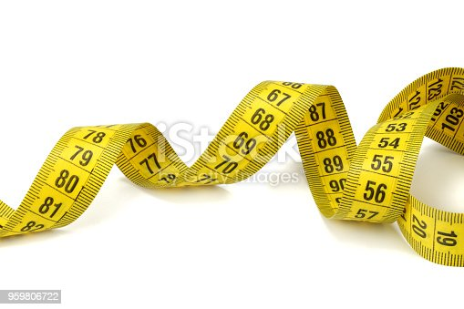 1184112328 istock photo Yellow measuring tape isolated on white background 959806722