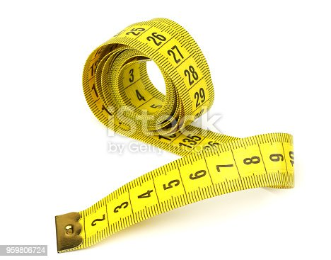 1184112328 istock photo Yellow measuring tape isolated on white background 959806724