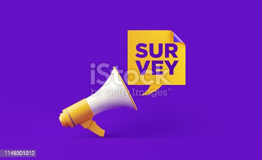 istock Yellow Megaphone And Survey Text On Purple Background 1149301012