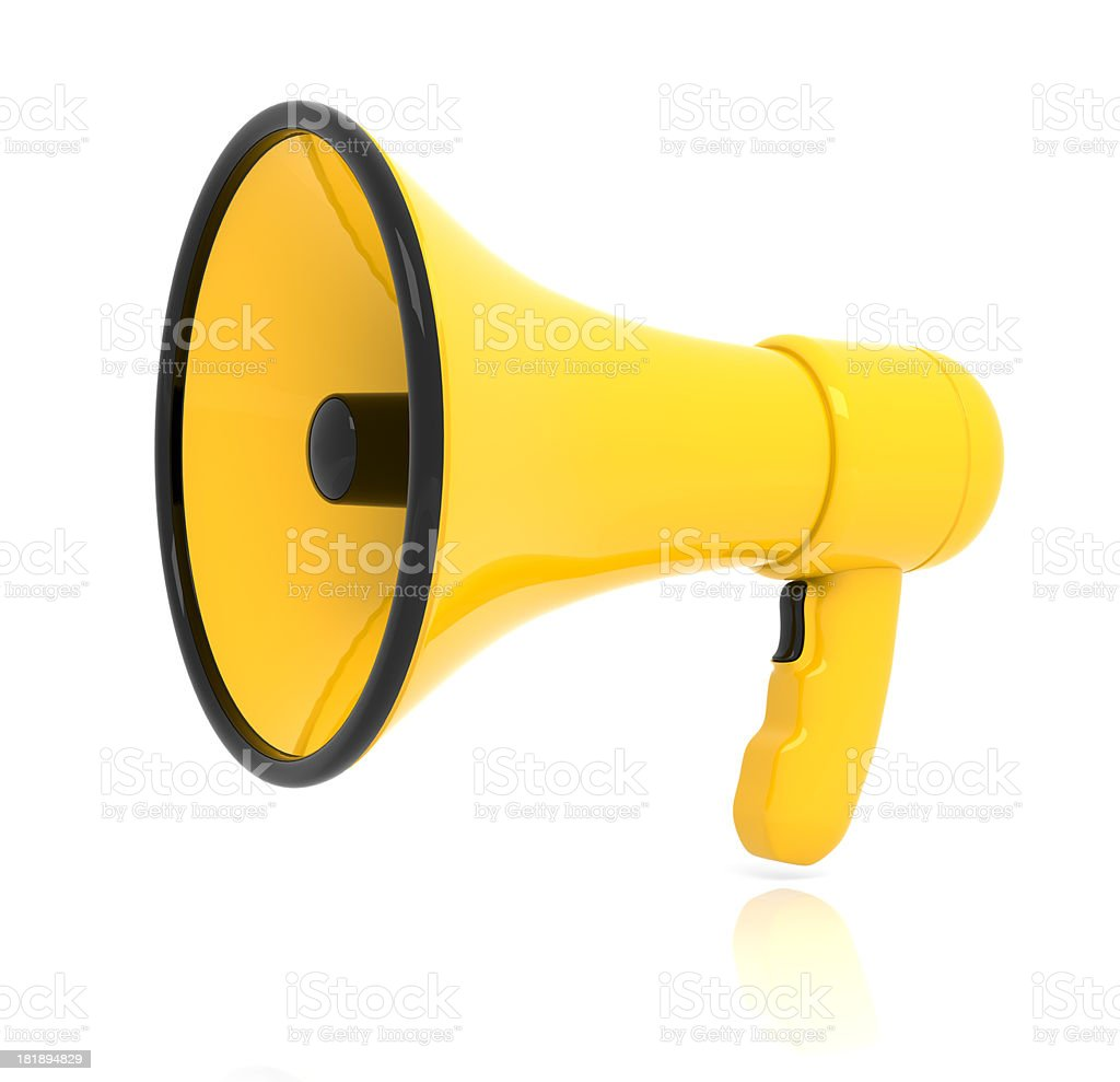 yellow Megaphone stock photo