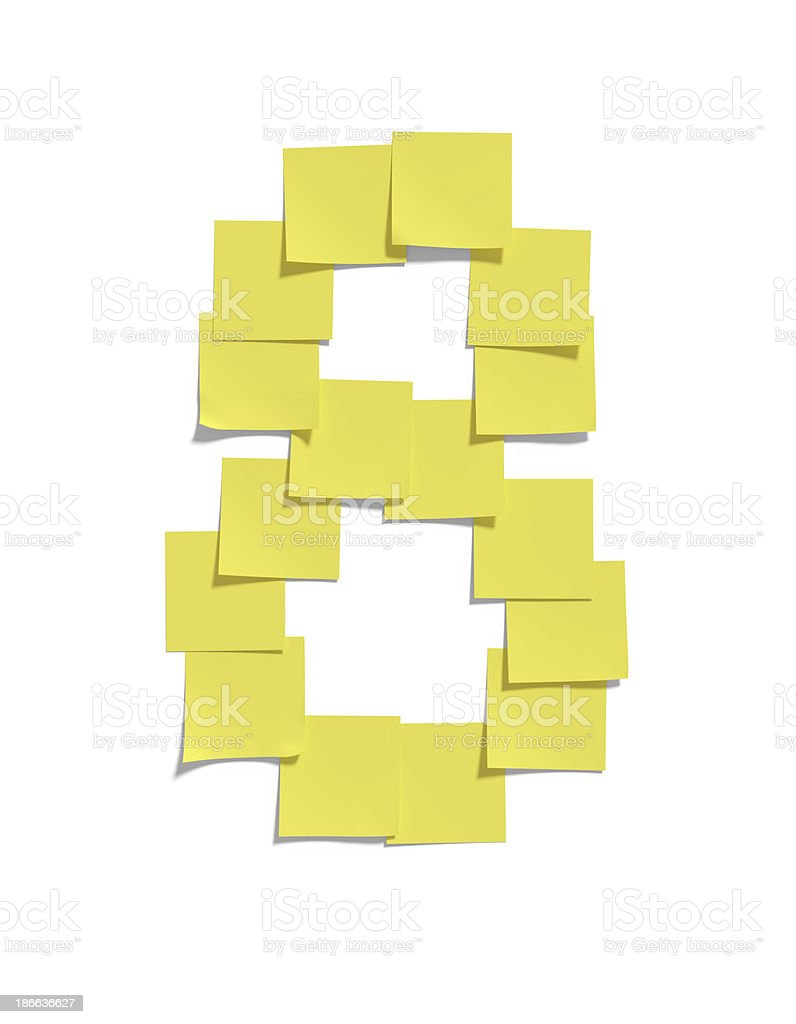 Yellow memo notes illustrating EIGHT and including clipping path royalty-free stock photo