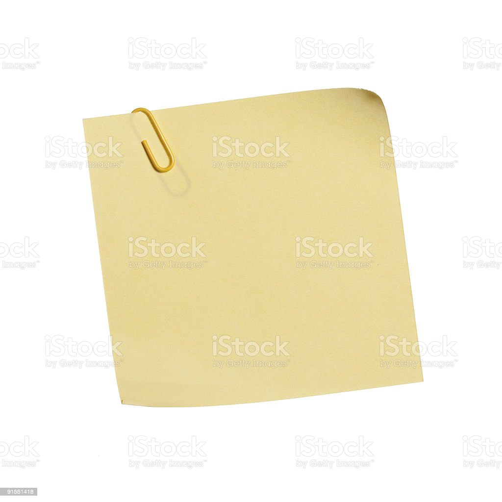 Yellow Memo with paper clip royalty-free stock photo