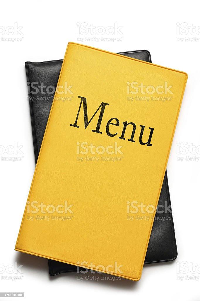 Yellow menu book on white royalty-free stock photo