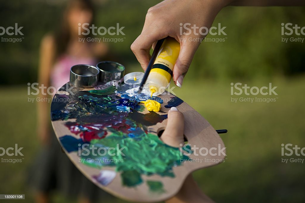 Yellow mid paint royalty-free stock photo