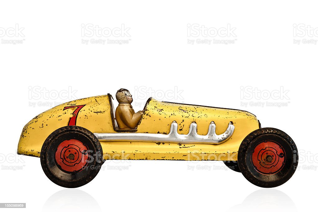 Yellow model race car with a number 7 on it stock photo