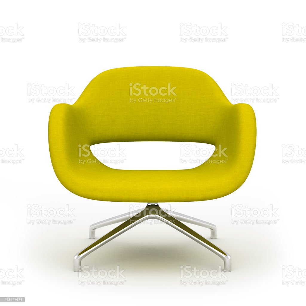 Yellow modern armchair isolated on white background 3d rendering stock photo