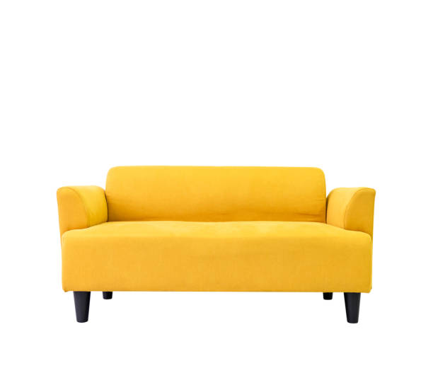 yellow modern comfortable sofa in living room apartment with white wall.furniture decorate design at home isolated on white .di cut and clipping path - divano foto e immagini stock
