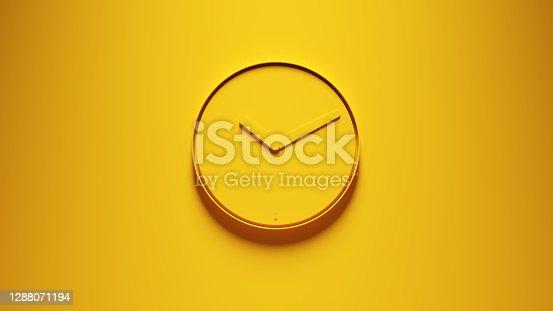 Yellow Modern Office Wall Clock 3d illustration render