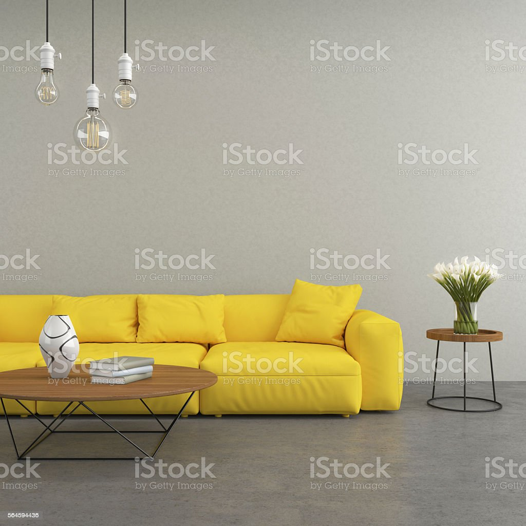 Yellow modern sofa in the living room stock photo