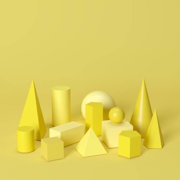 Gelbe monotone geometrische Formen, die auf gelbem Hintergrund gesetzt sind. Minimale Konzeptvorstellung – Foto