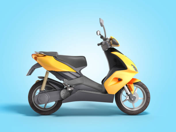 Yellow moped scooter Transport wheel 3d render on blue gradient stock photo