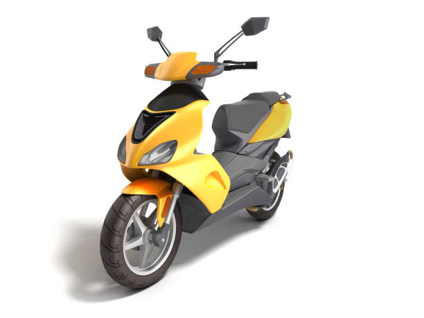 Yellow moped scooter Transport wheel 3d render on white stock photo