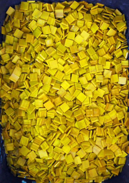 yellow mosaic small plate stock photo