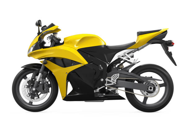 yellow motorcycle isolated - motorbike racing stock photos and pictures