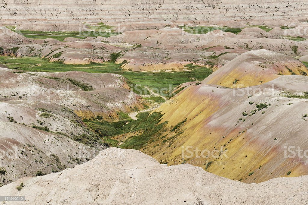 Yellow Mounds Section Badlands National Park Landscape in South Dakota royalty-free stock photo