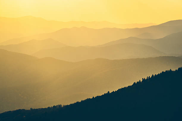 Yellow Mountains at Sunset Sunlight over the Great Smoky Mountains at Sunset in Tennessee, Usa. appalachian trail stock pictures, royalty-free photos & images