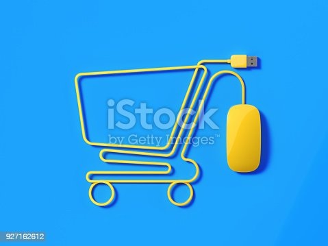 istock Yellow Mouse Cable Forming A Shopping Cart Symbol On Blue Background 927162612